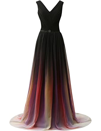 JAEDEN Gradient Chiffon Formal Evening Dresses Long Party Prom Gown Black Two US2