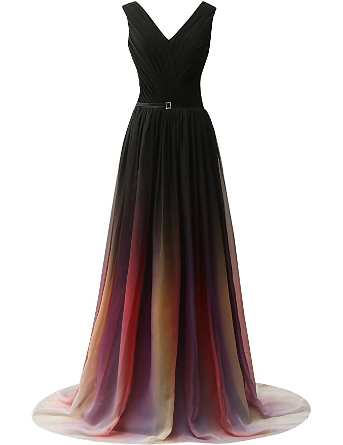 JAEDEN Gradient Chiffon Formal Evening Dresses Long Party Prom Gown at Amazon Womens Clothing store: