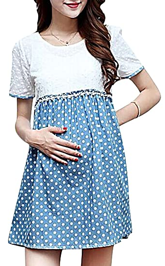 281f71f904bd8 Hibukk Women's Stylish Cute Floral Polka Dots Short Sleeve Maternity Dress,  Blue 4,Manufacturer