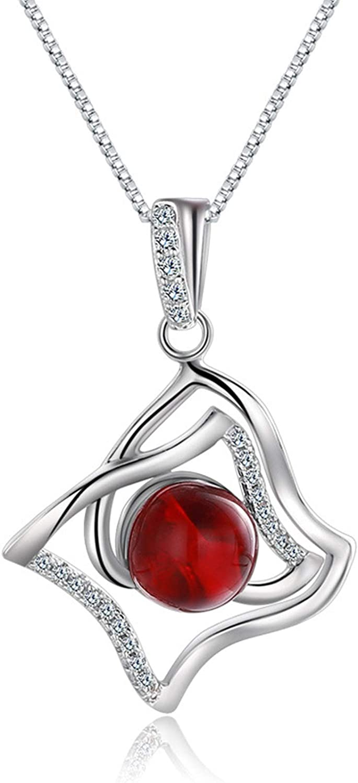 Daesar 925 Silver Necklace for Women Necklace Pendants Geometric Flower Cubic Zirconia Necklace Vintage Silver