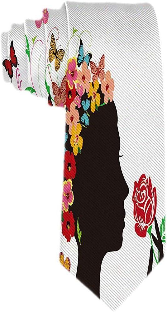 Corbata clásica para hombres Cabeza de mujer afro negra con flores ...