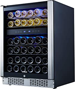 STAIGIS Wine Cooler - 24 Inch Wine Fridge for 46 Bottles - Small Wine Refrigerator with Glass Door and Concealed Handle - Freestanding 46-Bottle Mini Wine Chiller for Home, Office, Kitchen and Bar