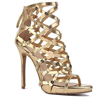 4ece06c28521e8 L@YC Chaussures pour Femmes PU Été Automne Haut Talon Bout Pointu pour la  Fête de Mariage Et Soirée Noir/Sandales