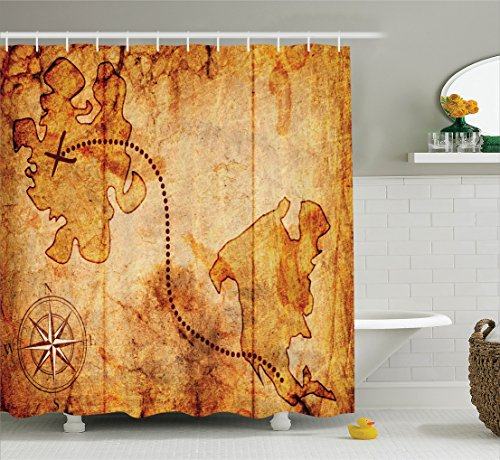 treasure map shower curtain - 5