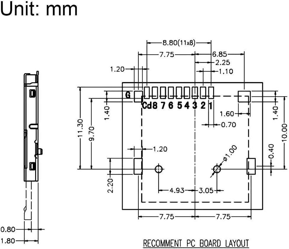 Amazon.com: ZealMax Tarjeta Micro SD (TF) Conector de zócalo ...