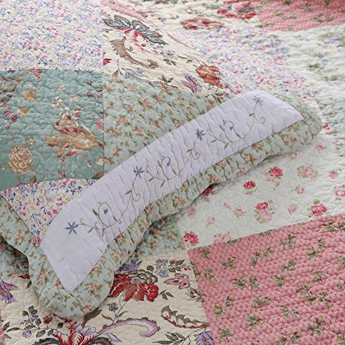 Cozy Line Home Fashions Floral Patchwork Tiffany Green Pink Lilac Country, 100% COTTON Quilt Bedding Set, Reversible Coverlet Bedspread, Scalloped Edge,Gifts for Women (Celia Tiffany, King - 3 piece) by Cozy Line Home Fashions (Image #5)