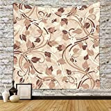 iPrint Polyester Tapestry Wall Hanging,Ivory,Autumn Leaves in Faded Earthen Tones Fall Season Branches
