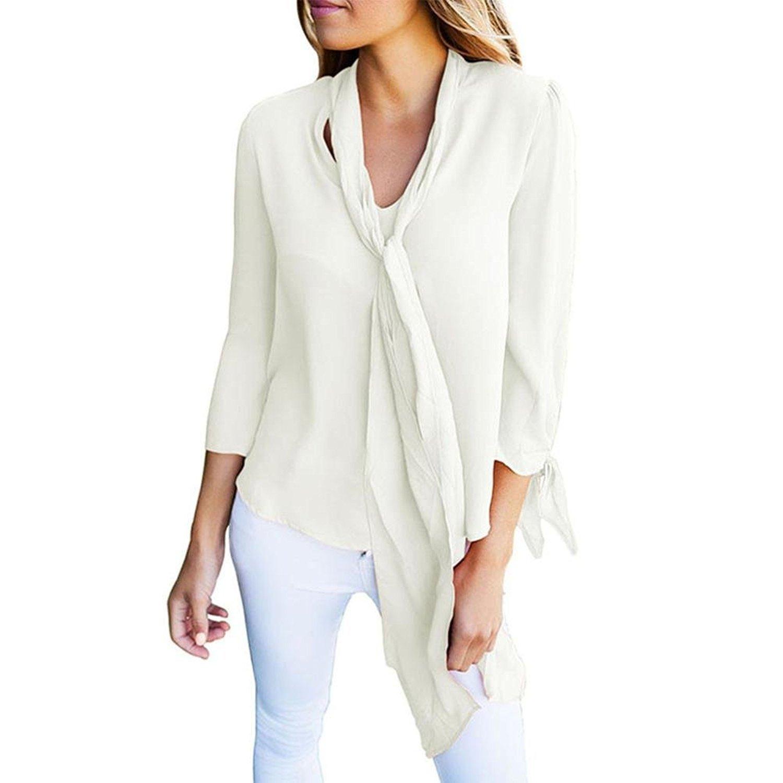 Fulltime(TM) Women Long Sleeve Shirt V Neck Chiffon Shirt Blouse YHL70815182