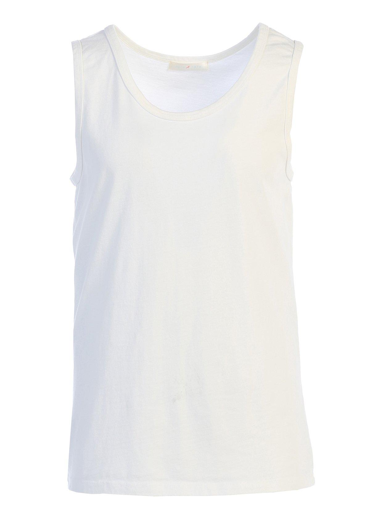 LAFSQ Unisex Plain Classic Style Premium Fine Jersey T-Shirt Tank Top, Made In USA (White, S)