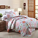 AMWAN Floral Patchwork Flower Printed Quilt Coverlet Set Queen Full Cotton Printed Quilt Bedspread Set Reversible Striped Quilt Comforter Set 3 Piece Luxury Girls Quilt Set with 2 Pillowcases, Style5