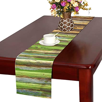Jnseff Texture Green Metal Rusty Painted Table Runner, Kitchen Dining Table  Runner 16 X 72