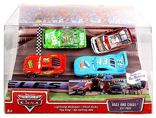 Disney / Pixar CARS Movie 1:55 Die Cast Race and Chase 4 Piece Gift Pack (Lightning McQueen, Chick Hicks, King and Re-Volting #84)