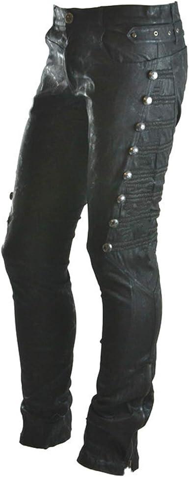 Huateng Pantalones De Remache Punk Para Mujer Pantalones Delgados De Cintura Alta De Moda Callejera Amazon Es Ropa Y Accesorios