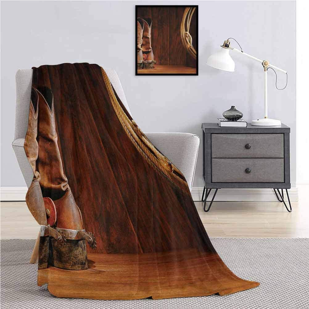 Western Super Soft Warm Decorative Blanket American Style Cowboy Wild West Culture Equestrian Sports Team Roping Barn Print Beautiful Home Decor W54 x L72 Inch Umber Brown