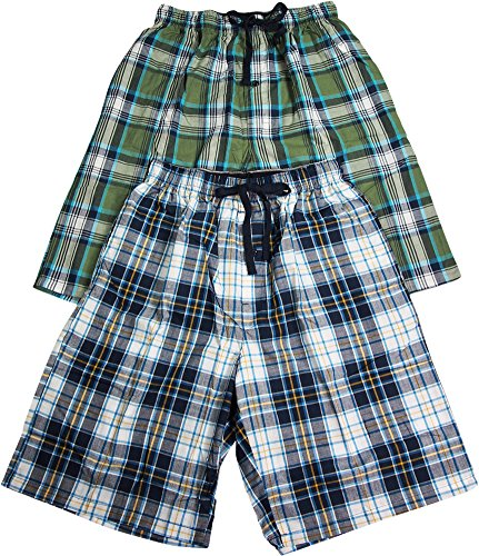 Hanes Mens 2 Pack Cotton Blend Woven Plaid Lounge Pajama Sleep Short, Navy, Green 40185-Large