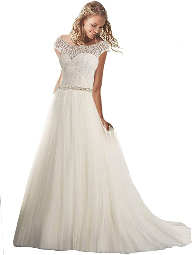 Amazon Com Women S Cap Sleeves Lace Wedding Dresses Long A Line Tulle Bridal Gowns Clothing