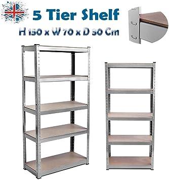5 Year Warranty Steel /& MDF Boltless Shelves SiKy Black 5 Tier Shelf 875KG Capacity Garage Shed Storage Shelving Units Standard: H 150 x W 70 x D 30 Cm 175KG Per Shelf