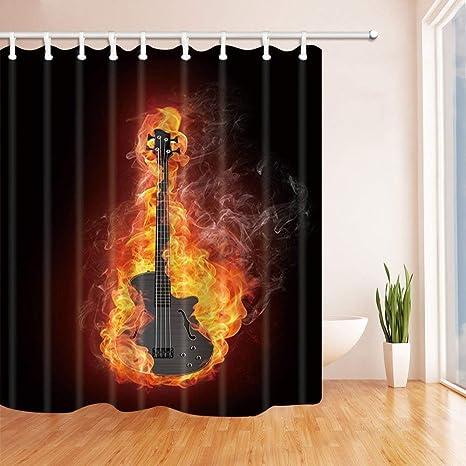 EdCott Gráficos Musicales Cortinas de baño para baño Bajo eléctrico Guitarra en Fuego Aislado en Tejido