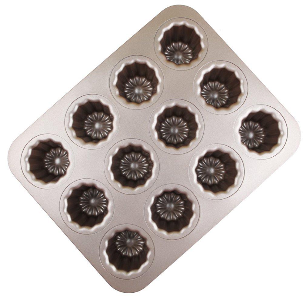 MyLifeUNIT Carbon Steel Cannele Pan, 12-Cavity Non Stick Cannele Mold, Golden KC17L262