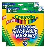 #5: Crayola 071662078515 Ultraclean Broadline Classic Washable Markers (2-Pack)