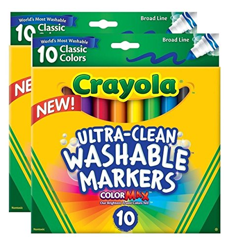 Crayola 071662078515 Ultraclean Broadline Classic Washable Markers (2-Pack) by Crayola
