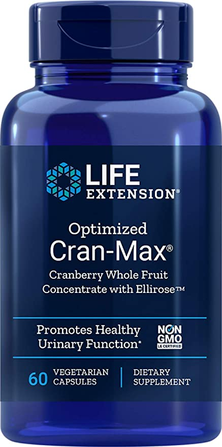 Life Extension Optimized Cran-Max Cranberry (Whole Fruit Concentrate with Ellirose), 60 Vegetarian Capsules