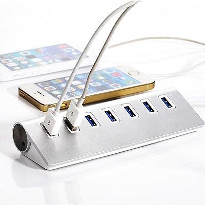 Distribuidor USB 2.0 de 7 puertos hub | hub de 7 puertos | PC y MAC | Portátil / tableta |aluminio (Tipo 3)