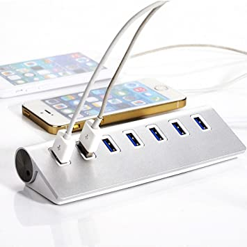 Distribuidor USB 2.0 de 7 puertos hub | hub de 7 puertos | PC y MAC | Portátil / tableta |aluminio (Tipo 3): Amazon.es: Electrónica