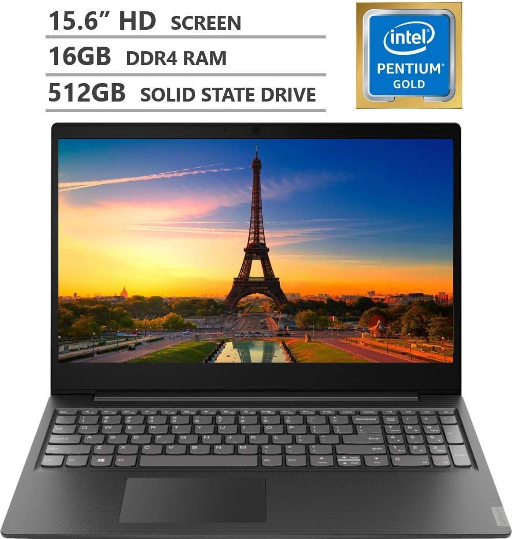 "2019 Newest Lenovo Ideapad S145 15.6"" HD LED-backlit Widescreen Laptop, Intel Pentium Gold 5405U 2.30GHz Processor, 16GB RAM, 512GB Solid State Drive, Wireless-AC, Bluetooth, Windows 10, Granite Black"