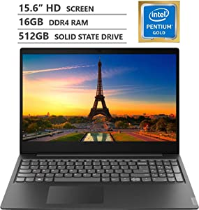 "2019 Newest Lenovo Ideapad S145 15.6"" HD LED-backlit Widescreen Laptop, Intel Pentium Gold 5405U 2.30GHz Processor, 16GB RAM, 512GB Solid State Drive, Wireless-AC, Bluetooth, Windows 10, Granite Black"