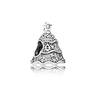 Amazon.com: Bead Charm Pandora Silver Woman 791765CZ Christmas tree ...