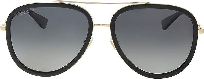 Gucci GG 0062S 011 Black Gold Metal Aviator Sunglasses