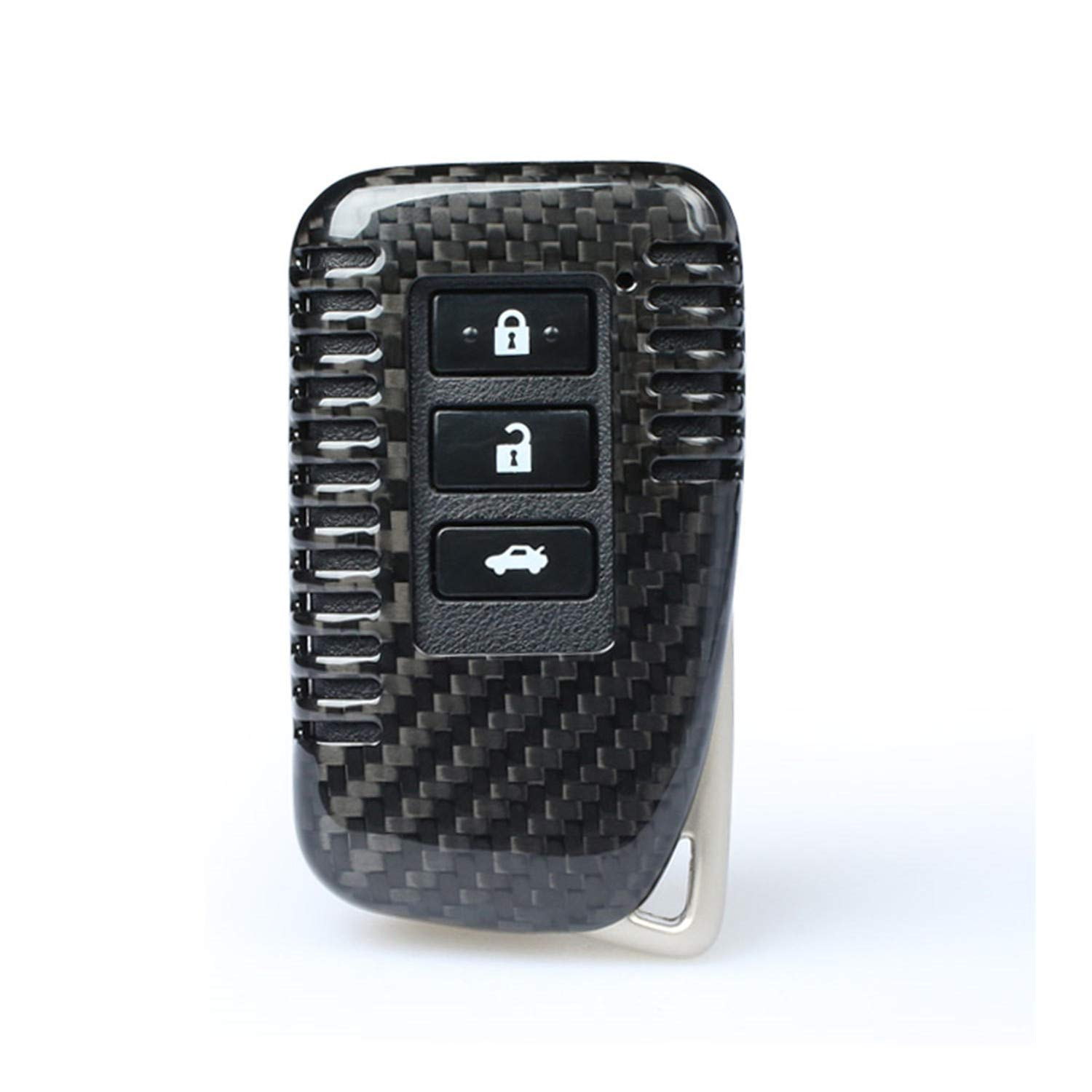 Fits Lexus NX RX LX is ES GS RC F Smart Keyless Start Stop Engine Car Key Carbon Fiber Key Fob Cover for Lexus Key Fob Remote Key Black 4 Buttons Light Weight Glossy Key Fob Protection Case
