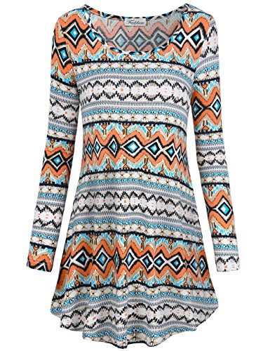 Dresses for Women Work Casual, Faddare Comfy Ethnic Loose Fit Shift Geometric Pattern Tunics Dress, Geometrical Orange (Fat Suits For Sale)