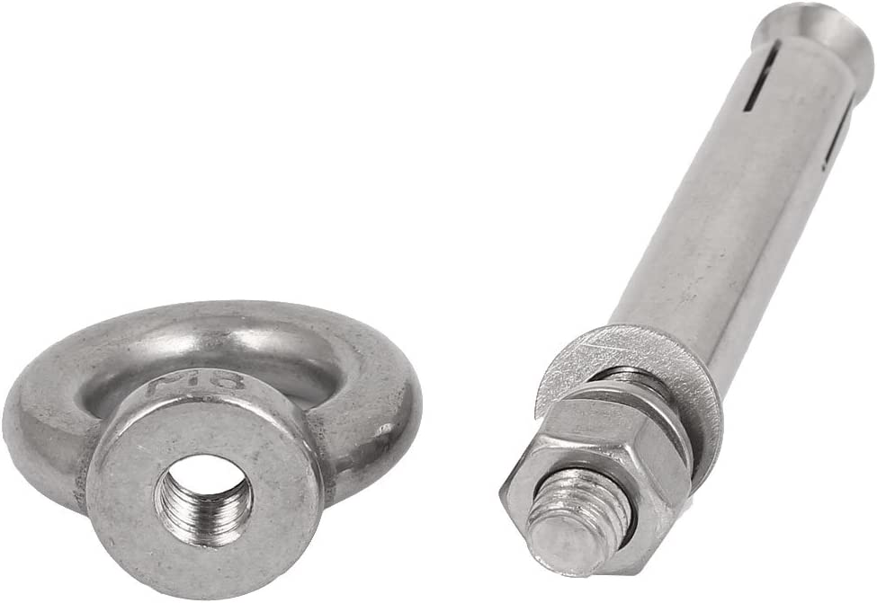 uxcell Wall Concrete Brick M8x80mm Expansion Screws Closed Hook Anchor Bolts 2pcs