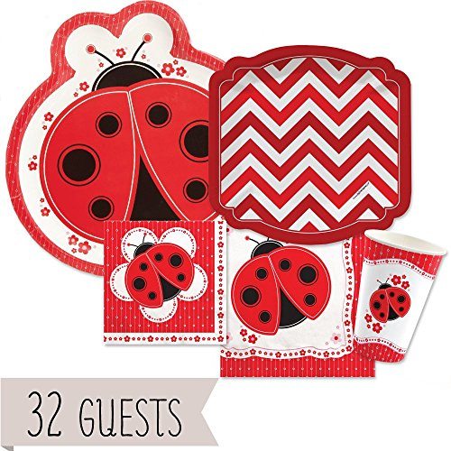 (Modern Ladybug - Party Tableware Plates, Cups, Napkins - Bundle for 32)