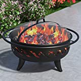 """Wellington 30"""" Portable Outdoor Fireplace Fire Pit Ring For Backyard Patio Fire, RV, Patio Heater, Stove, Camping, Bonfire, Picnic, Firebowl No Propane, Includes Safety Mesh Cover, Poker Stick"""