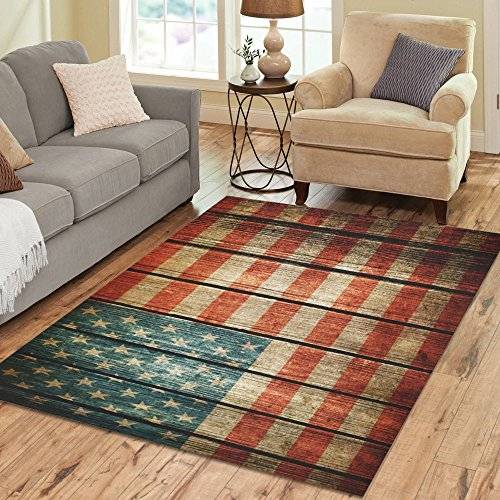 InterestPrint Vintage American Flag Area Rug Carpet 7 x 5 Feet, Retro Grunge Wood Modern Floor Rugs Mat for Office Home Living Dining Room Decoration