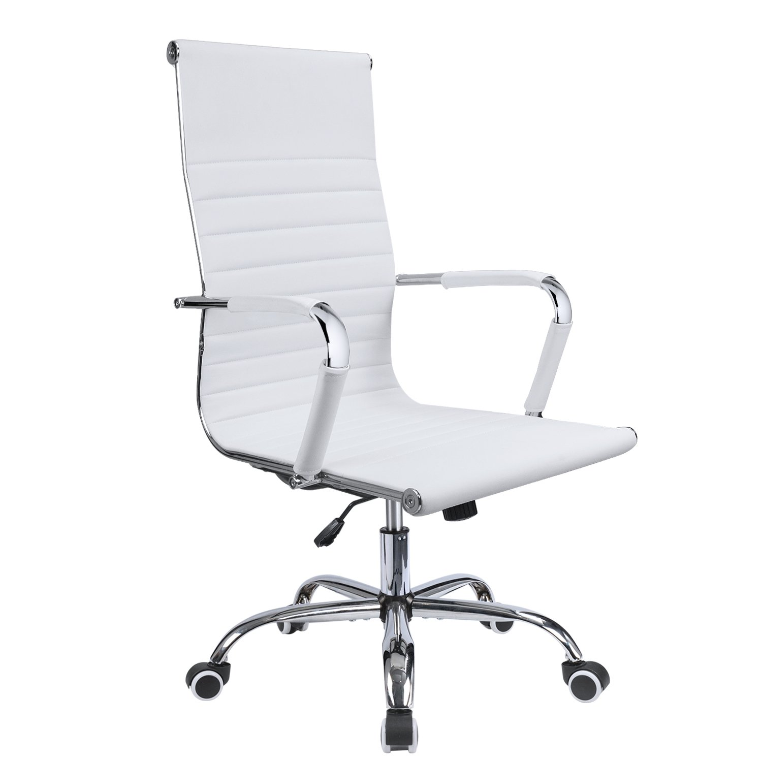Devoko Ribbed Office Chair Mid Back Leather Height Adjustable Swivel Desk Chairs Ergonomic Executive Conference Task Chair with Arms (White)