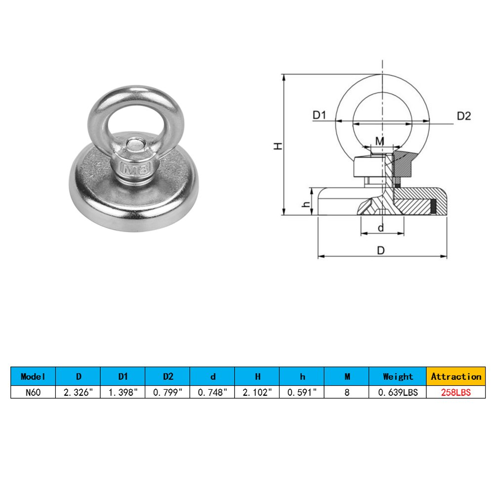 Great for Salvage or Magnetic fishing 180LBS Pulling Force 81.6KG Powerful Round Neodymium Magnet with Countersunk Hole and Eyebolt 1.89 Diameter