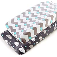 COSMOPLUS Stretch Fitted Changing Pad Cover -2 Pack Stretchy Changing Table Pad Covers for Boys Girls, Whale/Cloud