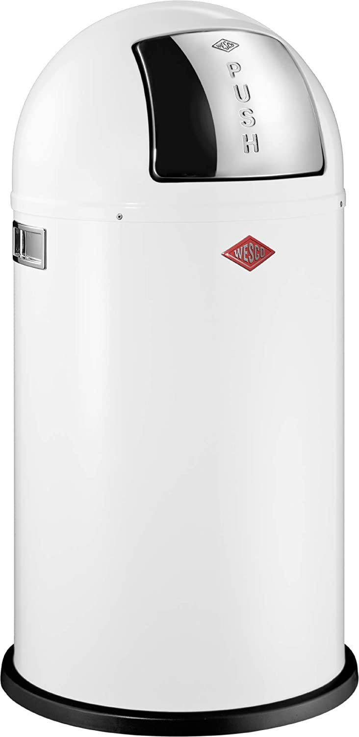 Wesco Pushboy - German Made - Push Door Trash Can, Powder Coated Steel, 13.2 Gallon / 50L , White