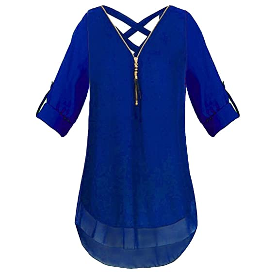 Ushero Mujeres Camisetas Blusa Casual Manga Corta Boton en Cuello V Camisa de Gasa Dobladillo Irregular para Mujer Sexy Gasa Tops Camisolas de Gasa con ...