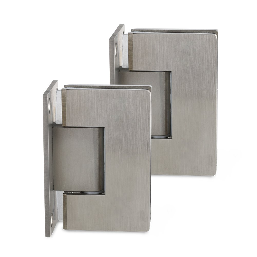 SUNNY SHOWER SH Door Hinge, Frameless Pivot Shower Door Glass Wall Mount Hinge, Wall-to-Glass 90 Degree, Brushed Nickel Finish, Solid Stainless Steel, 2 Hinges