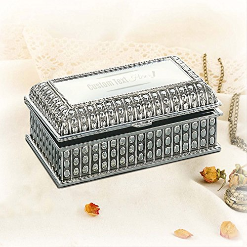 (Center Gifts Personalized Silver Plated Rectangular Jewelry Box with Beaded Antique Design)