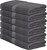 Premium 100% Cotton Gray Bath Towel Set (6 Pack, 22 x 44 Inch) Lightweight High Absorbency Multipurpose Quick Drying Pool Gym Gray Towel Set by Utopia Towels
