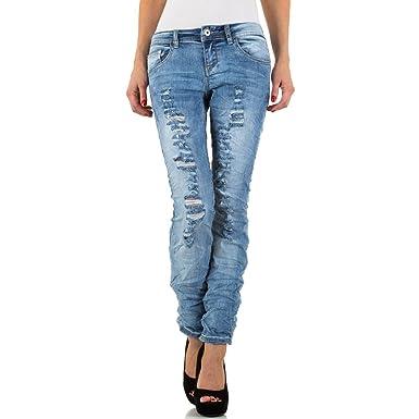 91158a35cfc8 Schuhcity24 Damen Jeans Hose Jeanshose Damenjeans Destroyed Knitter Skinny  Röhre Röhrenjeans Bluejeans Blau 34