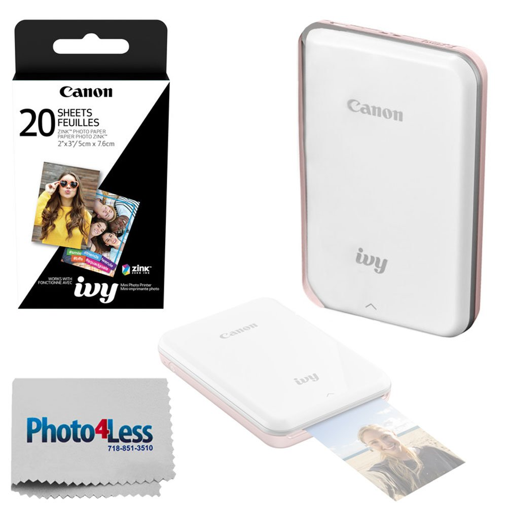Canon Ivy Mini Mobile Photo Printer (Rose Gold) - Zink Zero Ink Printing Technology - Wireless/Bluetooth + Canon 2 x 3 Zink Photo Paper (20 Sheets) + Photo4Less Cleaning Cloth - Deluxe