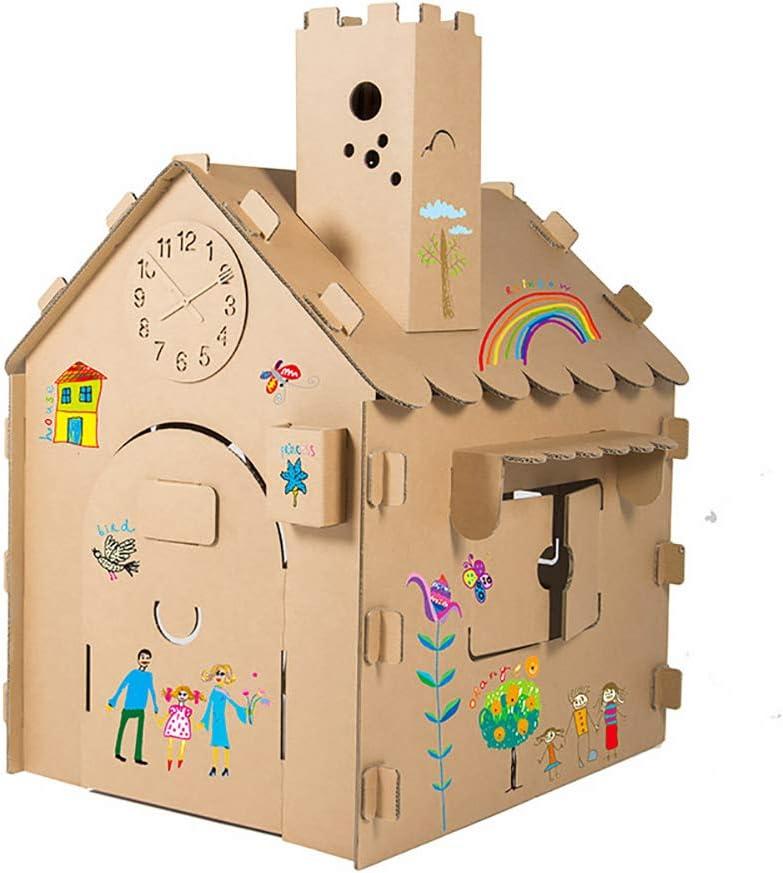 ROCK1ON DIY Graffiti Casa de Juegos de Cartón Corrugado Cabaña Casa De Papel Juego de Roles para niños Juguete educación Tienda de campaña Interior Regalo de cumpleaños
