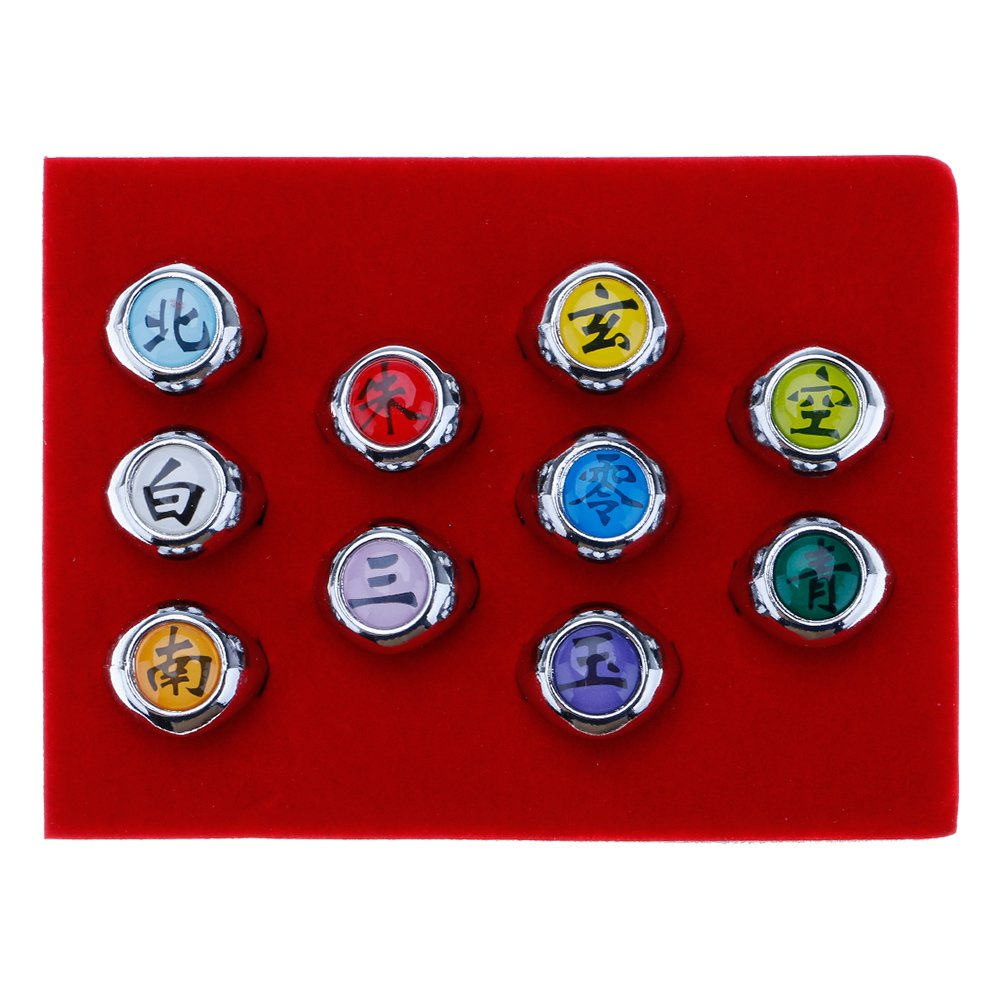 WEKA 10Pcs Metal Rings Full Set Metal AKATSUKI Member Ring Kid Japanese Ninja Cosplay Toy